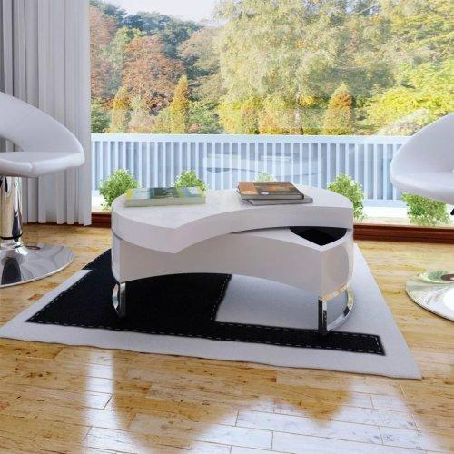 vidaXL Coffee Table Shape-adjustable High Gloss White Living Room Furniture