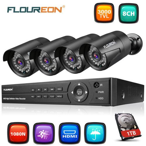 FLOUREON 1TB 8CH 1080N 5in1 DVR 3000TVL CCTV IP Camera Security System