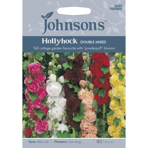 Johnsons Seeds - Pictorial Pack - Flower - Hollyhock Double Mixed - 50 Seeds
