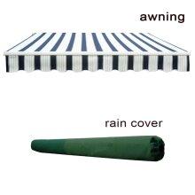 4x3m Garden Patio Manual Sun Shade Shelter Retractable Canopy-  Blue-White