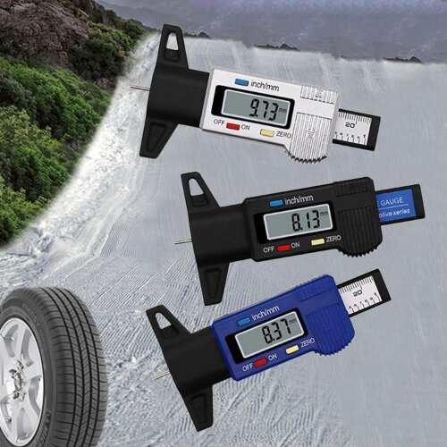 (As Seen on Image) Digital Car Tire Tread, Depth Tester, Gauge Meter With LCD Display, Tire Measurement Tool