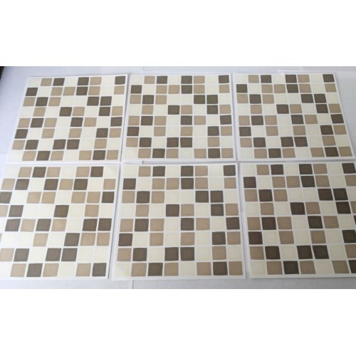 """Pack x 10 Coffee/Cream Mosaic Tile Stickers for 6inch Wall Tiles(5.8"""")"""