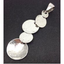 Hammered round disc pendant, solid Sterling silver.