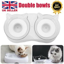 Non-slip Double Pet Bowls with Raised Stand Dog Cat Food Feeding Station