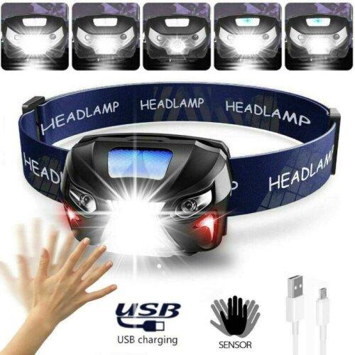 Waterproof USB Rechargeable Auto-sensing Headlight Head Torch LED Camp Headlamp