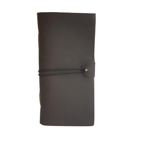 "Woodland Leather 4"" x 8"" Black Leather Journal Pin Stud Elastic Wrap Design"