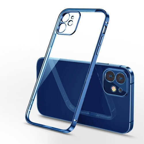 For iPhone 12 Pro Max - Clear Silicone Case With Blue Edge