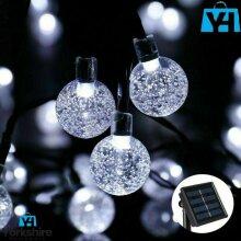 10M 50 Led Solar Power Retro White Bulb String Lights Garden Outdoor Fairy Lamp