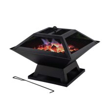 Portable fire pit with BBQ Grill