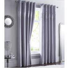 Shimmer Embellished Curtains Sequin Diamante Eyelet Ring Top Lined Silver Grey
