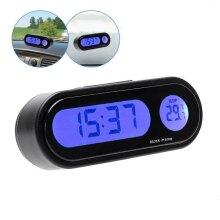 LCD Digital Car Electronic LED 12V Time Clock Thermometer With Backlight UK