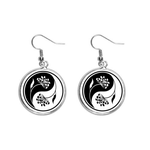 Buddhism Yin-yang Black White Flower Ear Dangle Silver Drop Earring Jewelry Woman