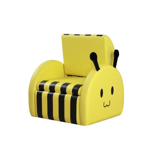 HOMCOM Kids Sofa Bee Shape Storage Box Leather Chair Soft Yellow