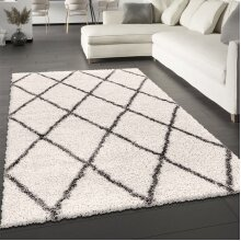 Fluffy Rug Cream Shaggy Carpet Soft Thick Large Small Geometric Dimaond Pattern for Living Room Bedroom