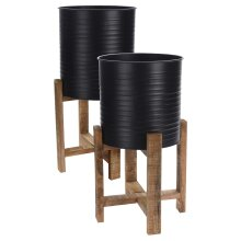 idooka Black Plant Pot Pair Metal with Wooden Plant Stand for Large Indoor Plants - Two Floor Standing Planters and Pots with Legs for Medium-XL