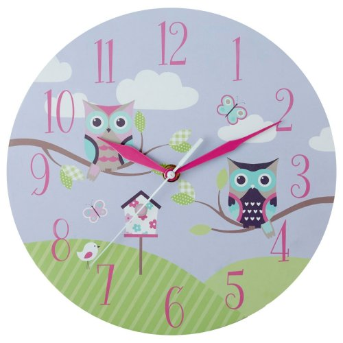 Kids Owl Wall Clock, Multi-coloured