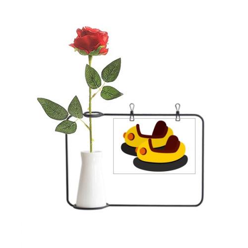 Bumper Car Amusement Park Illustration Artificial Rose Flower Hanging Vases Decoration Bottle