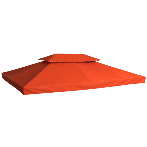 Outsunny 3m x 4m Replacement Gazebo Canopy Roof Top 2-Tier Tent Cover Spare Part