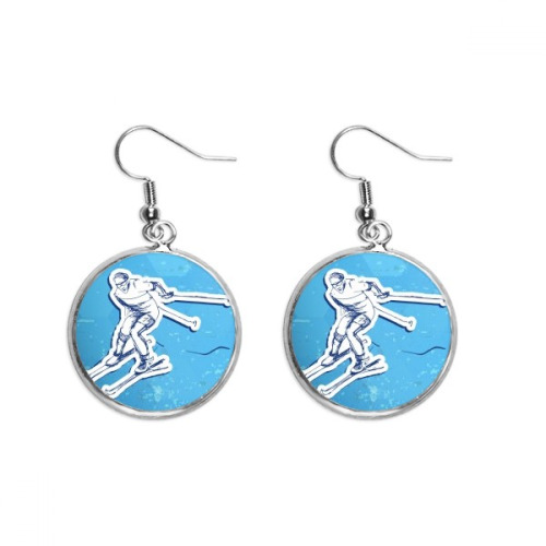Winter Sport Ski Action Illustration Ear Dangle Silver Drop Earring Jewelry Woman