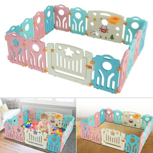 14+2 Panel Large Foldable Baby Playpens Kids Plastic Play Room Divider