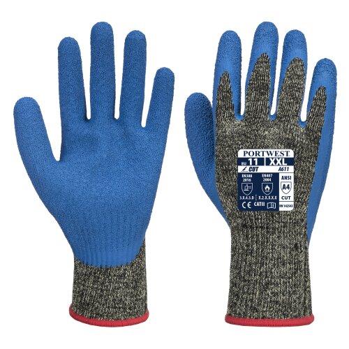 (M, Blue) sUw - 12 Pair Pack Aramid HR Cut Latex Hand Protection Glove
