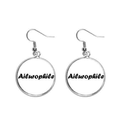 Stylish Word Ailurophile Ear Dangle Silver Drop Earring Jewelry Woman