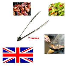 "Stainless Steel 7"" Salad Tongs Food Serving Cooking Utensil Tong"