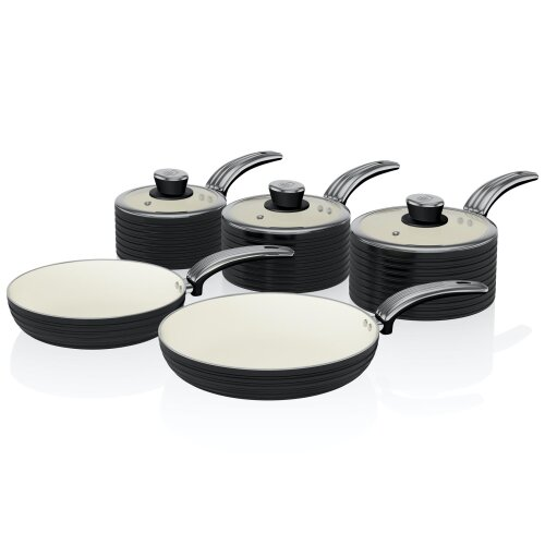 Swan Black Retro Non-Stick 5pce Pan Set, 3 Saucepans 16/18/20cm, 2 Frying Pans 20/28cm with Tempered Glass Lids & Compatible with Induction Hobs