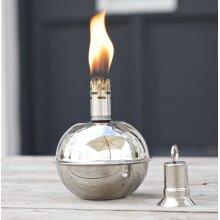 Round Garden Oil Lamp Silver