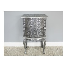 Embossed Textured Silver Bedside Cabinet Table   2 Drawer