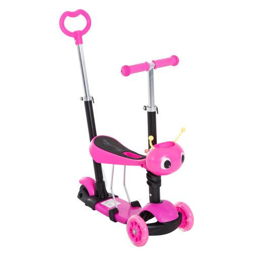 Homcom Kids' 5-in-1 Kick Scooter | Adjustable Pink Kids' Scooter