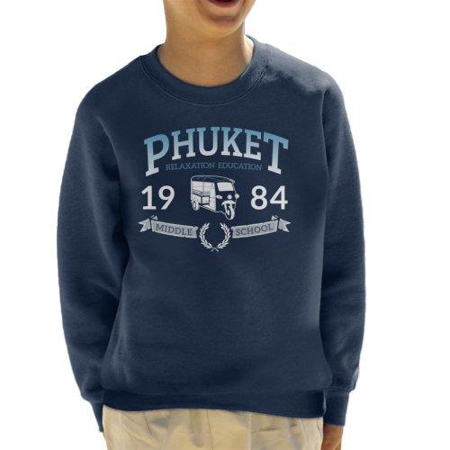 (X-Large (12-13 yrs), Navy Blue) Phuket 1984 Middle School Kid's Sweatshirt