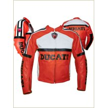 DUCATI Cowhide Leather Motorcycle Riders Racing Jacket Motorbike Biker Sports Coat New , Protective For Men, Red Black Yellow