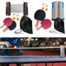 Table Tennis Ping Pong Kit Set Portable Retractable Net Bats Ping Pong Balls