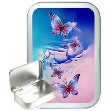 Butterfly Dream 50ml Silver Hinged Tobacco Tin, Gift Tin