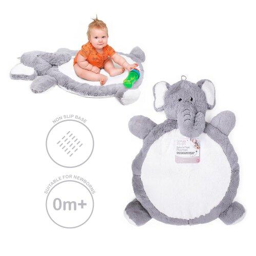 Baby Playing Mat Crawling Tummy Time Snuggle Rug Soft Plush Elephant Grey Unisex
