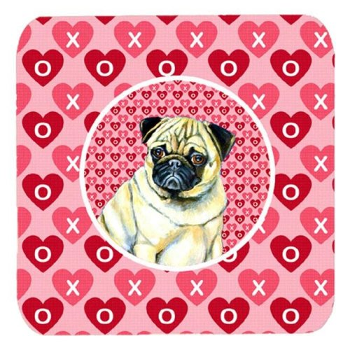 Pug Valentines Love and Hearts Foam Coasters, Set - 4