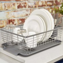 Tower T8470 Compact Dish Rack with Removable Cutlery Drainer, Colour Coated Stainless Steel, Grey