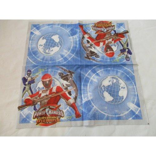 Pack of 40 Power Rangers Party Napkins - 33 x 33 cm 2ply Napkin - Superhero