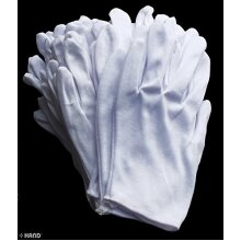 No.2 White Coin Jewellery Silver Inspection Lightweight Terylene and Cotton Gloves - Size Small-Medium Stretchable - Pack of 12 Pairs