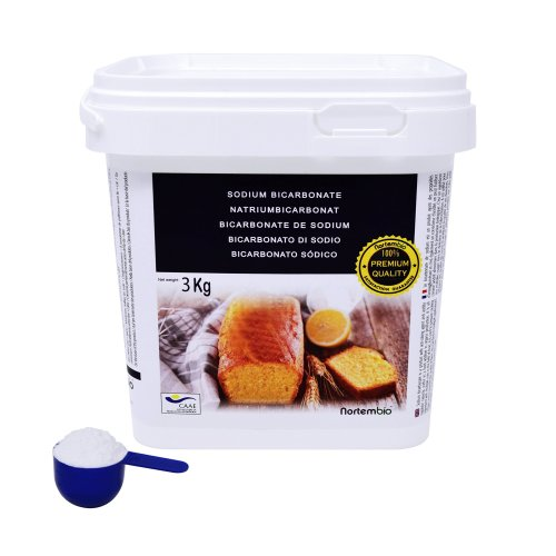 NortemBio Bicarbonate of Soda 3 kg, Baking Soda. Food Grade. Premium Quality. Developed in UK.