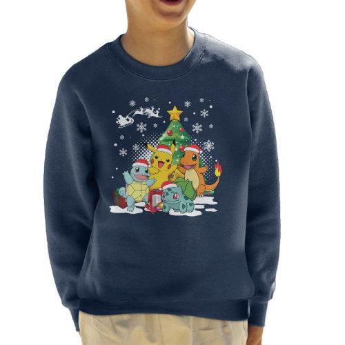 (X-Small (3-4 yrs)) Pokemon Under The Christmas Tree Kid's Sweatshirt