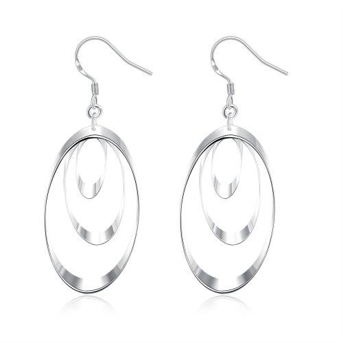 Silver Plated Multi Oval Flat Tear Drop Hanging Hook Drop Earrings Round