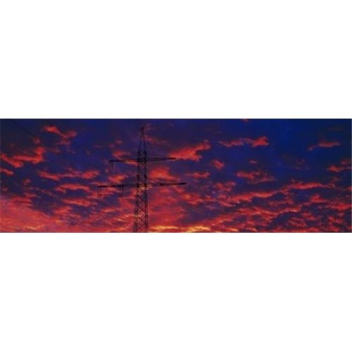 Power lines at sunset Germany Poster Print by  - 36 x 12