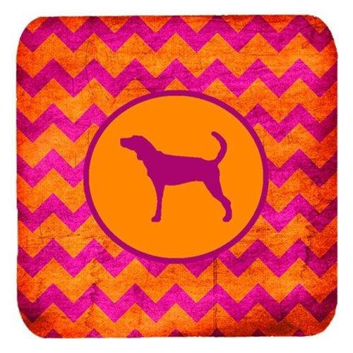 Plott Hound Chevron Pink And Orange Foam Coasters, Set Of 4
