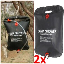 2X 20L Solar Shower Bag Portable Camping Water Sun Compact Heated